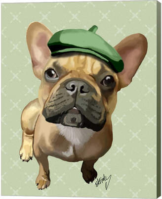 Metaverse Brown French Bulldog With Green Hat By Fab Funky Canvas Art
