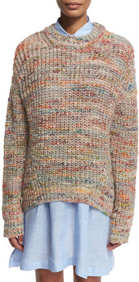Acne Studios Marled Chunky Pullover Sweater, White/Multi $450 thestylecure.com