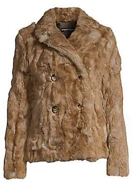 Adrienne Landau Women's Rex Rabbit Fur Pea Coat