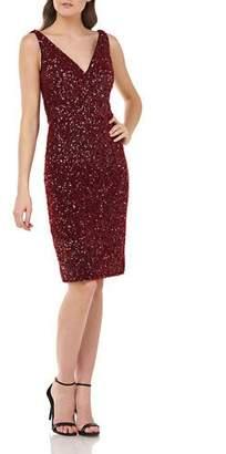 Carmen Marc Valvo Crunchy Sequin V-Neck Sleeveless Sheath Dress