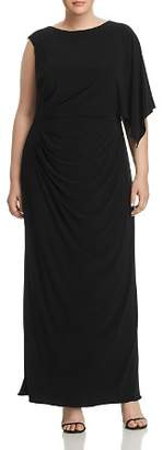 Adrianna Papell Plus Jersey One-Sleeve Maxi Dress
