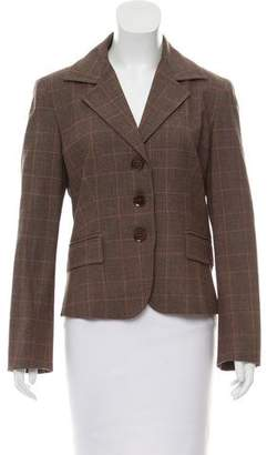 Max Mara Plaid Virgin Wool Blazer