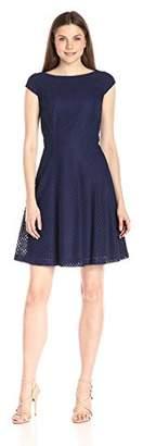 Lark & Ro Women's Cap Sleeve Eyelet Fit and Flare Dress