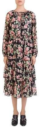 The Kooples Silk Rose-Print Dress