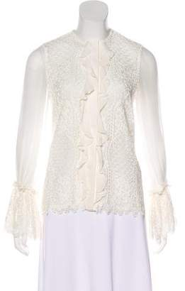 Alexis Lace-Accented Button-Up Blouse