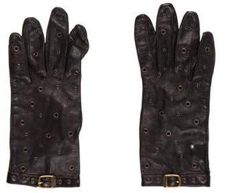 Neiman Marcus Leather Grommet Gloves
