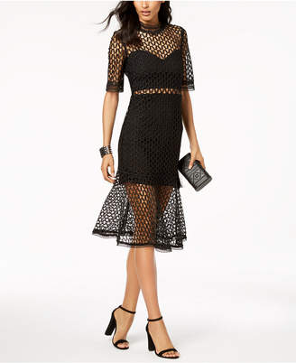 Bardot Sheer Flute-Hem Dress