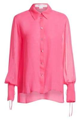 Carolina Herrera Silk Bell-Sleeve Blouse