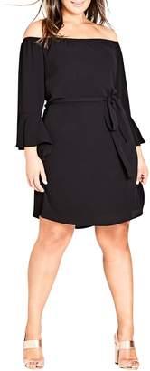 City Chic Sweet Ruffle Sleeve Tunic Dress