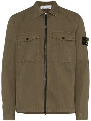 Stone Island front pocket cotton shirt jacket