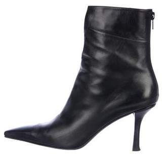 Stuart Weitzman Leather Square-Toe Ankle Booties