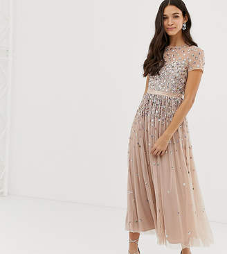 Maya cap sleeve midaxi dress with applique delicate sequins in taupe blush