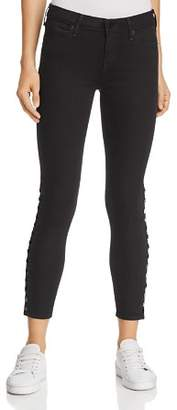 True Religion Halle Snapped Mid-Rise Skinny Jeans in Jet Black