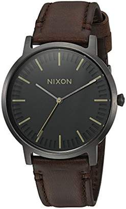 Nixon Men's 'Porter Leather' Quartz Stainless Steel Casual Watch