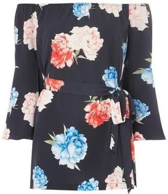 Dorothy Perkins Womens Navy Floral Print Bardot Tunic Top