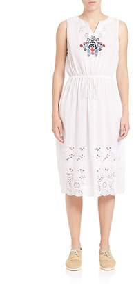 Suno Women's Embroidered Laser-Cut Dress