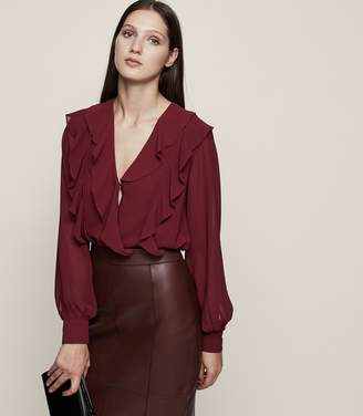 Reiss Goldie Ruffle-Front Blouse