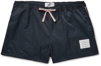 Thom Browne Short-Length Stripe-Trimmed Shell Swim Shorts