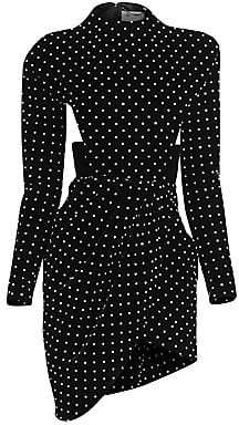 Saint Laurent Women's Velvet Cutout Studded Mini Dress