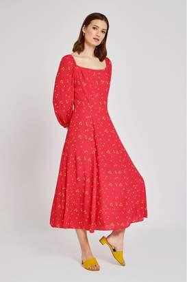 Ghost Womens London Pink Joy Lemon Print Crepe Dress - Pink