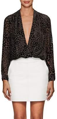 L'Agence Women's Lydia Leopard-Pattern Velvet Draped Blouse