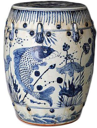One Kings Lane Fish-Motif Garden Stool - Navy/White