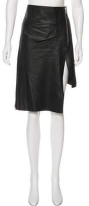 OAK Leather Knee-Length Skirt