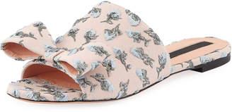 Rochas Flower-Embroidered Flat Slide Sandal