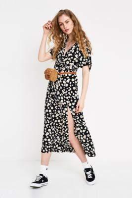 Urban Outfitters Marian Daisy Print Twist Front Midi Dress