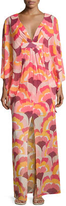 Trina Turk Blossom Floral Stretch Silk Maxi Dress