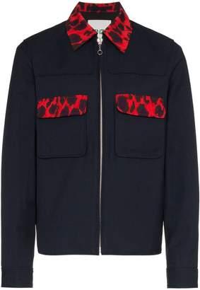 Kenzo workwear leopard print cotton virgin wool-blend jacket