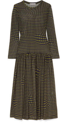 Molly Goddard - Tegen Checked Stretch-mesh Midi Dress - Army green