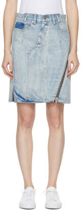 3.1 Phillip Lim Indigo Denim Asymmetric Zipper Miniskirt