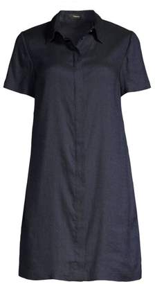Theory Short Sleeve Linen-Blend Shirtdress