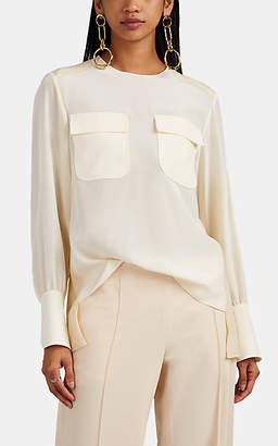 Chloé Women's Two-Tone Silk Blouse - Wht, Bei