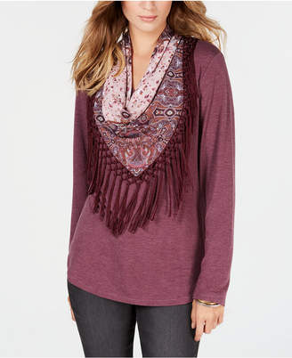 Style&Co. Style & Co Petite Scarf-Neck Fringed Top, Created for Macy's