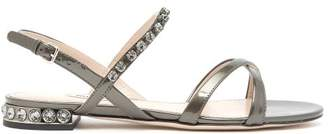 Miu Miu Crystal Embellished Patent Leather Sandals - Womens - Dark Grey