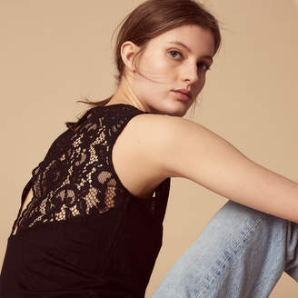 Sandro T-shirt with lace insert at the back