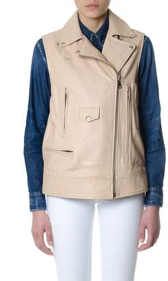 Dondup Beige Leather Sleeveless Jacket