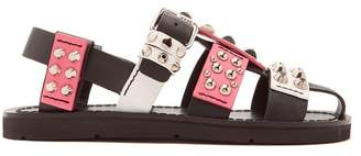 Prada Stud Embellished Leather Sandals - Womens - Pink White