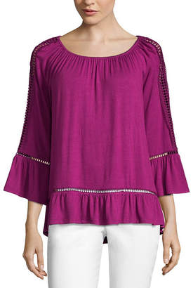 John Paul Richard JOHNPAULRICHARD 3/4 Sleeve Boat Neck Knit Blouse