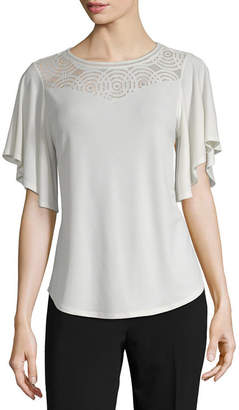 WORTHINGTON Worthington Womens Round Neck Short Sleeve Blouse