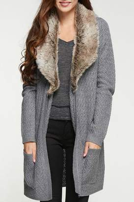 Love Stitch Lovestitch Fur Trim Cardigan