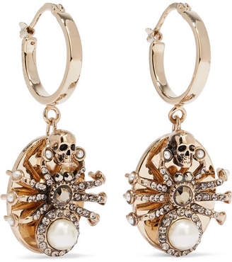 Alexander McQueen Gold-tone Swarovski Crystal And Faux Pearl Earrings