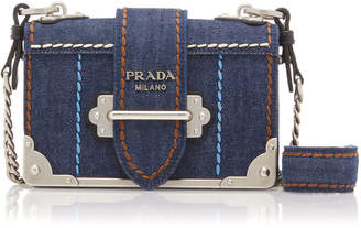 Prada Cahier Leather-Trimmed Denim Shoulder Bag