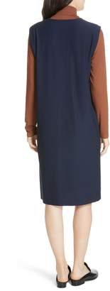 Eileen Fisher Deep V-Neck Knee Length Shift Dress