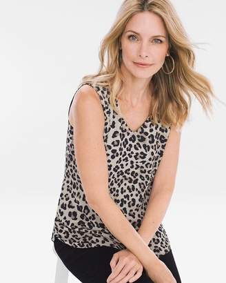 Chico's Chicos Reversible Black-Leopard-Print Tank