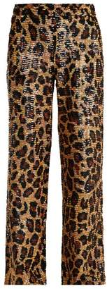 Ashish Leopard Sequin Embellished Cotton Trousers - Womens - Brown