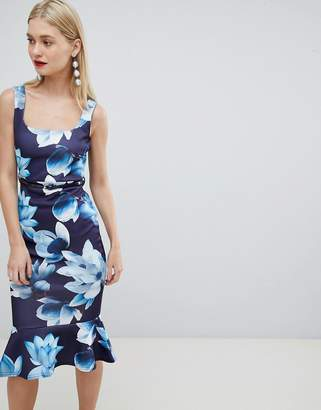 Lipsy square neck belted bodycon floral dress