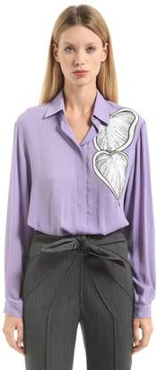 Marco De Vincenzo Lurex Embroidered Crepe Georgette Shirt